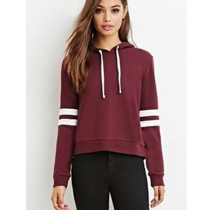 Forever 21 Varsity Striped Hoodie Maroon Small